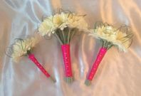 3 X ARTIFICIAL IVORY GERBERA HOT PINK WEDDING FLOWER BRIDESMAID BRIDE BOUQUETS